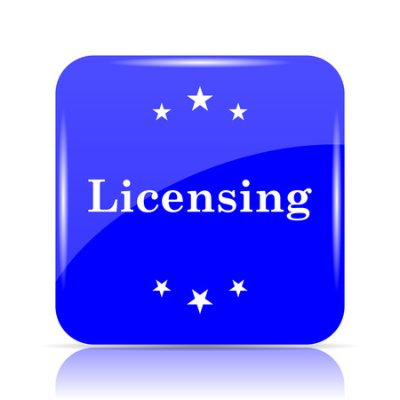 Licensing icon, blue website button on white background. Stock Photo