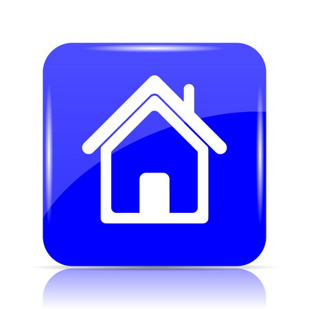 Home icon, blue website button on white background.