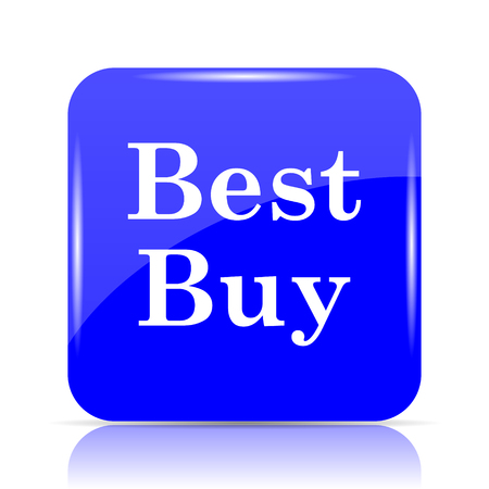 Best buy icon, blue website button on white background. Stock Photo