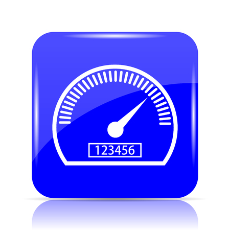 Speedometer icon, blue website button on white background.