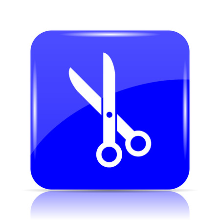 Cut icon, blue website button on white background. Stock Photo