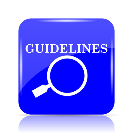 Guidelines icon, blue website button on white background. Stock Photo