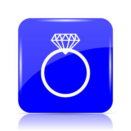Diamond ring icon, blue website button on white background. Stock Photo
