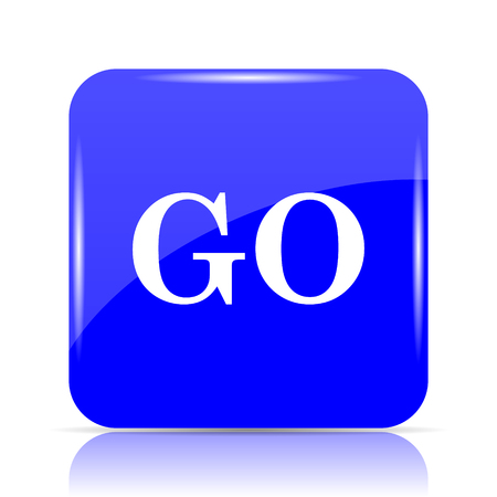 GO icon, blue website button on white background. Stock Photo