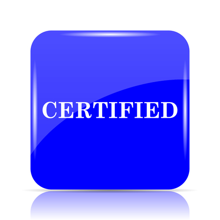 Certified icon, blue website button on white background.