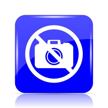 Forbidden camera icon, blue website button on white background.