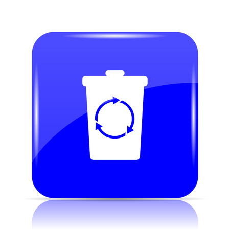 Recycle bin icon, blue website button on white background.