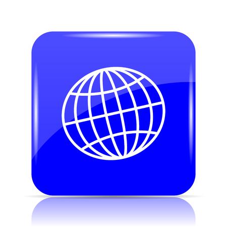 Globe icon, blue website button on white background. Stock Photo