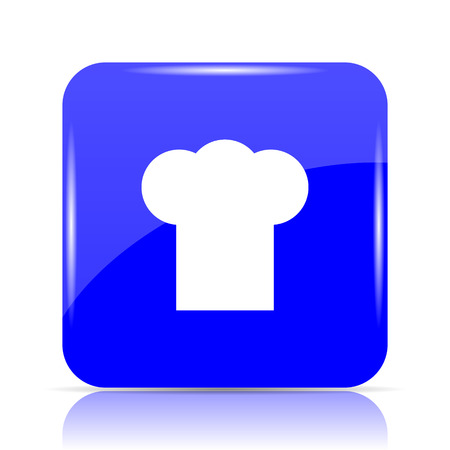 Chef icon, blue website button on white background.