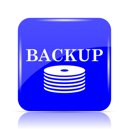 hard drive: Back-up icon, blue website button on white background.