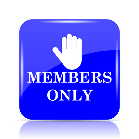 Members only icon, blue website button on white background.