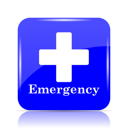 Emergency icon, blue website button on white background. Stock Photo