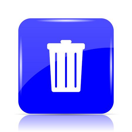 Bin icon, blue website button on white background.