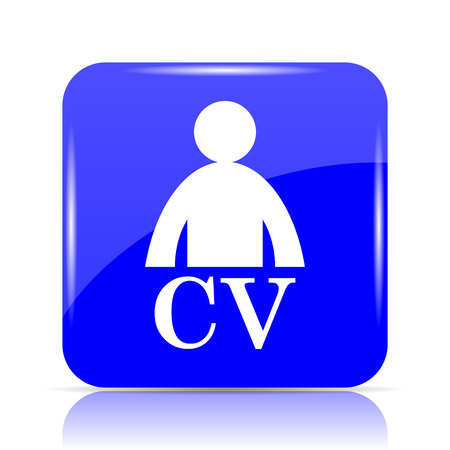 CV icon, blue website button on white background.