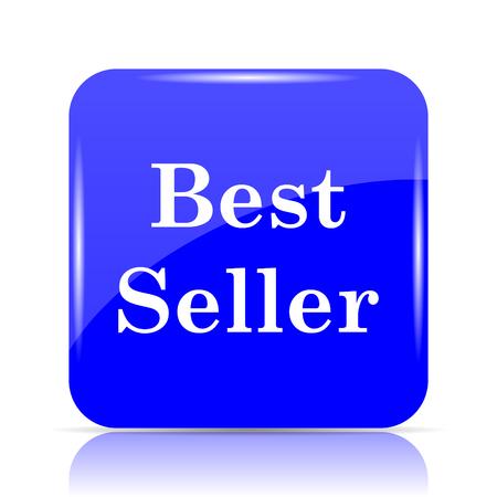 Best seller icon, blue website button on white background.