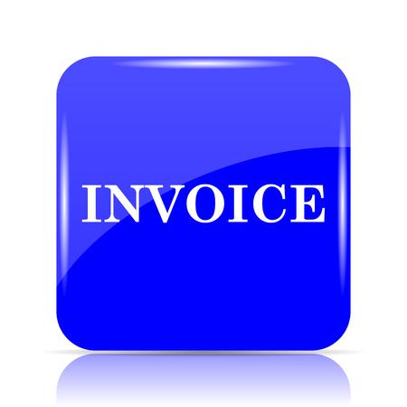 payable: Invoice icon, blue website button on white background. Stock Photo