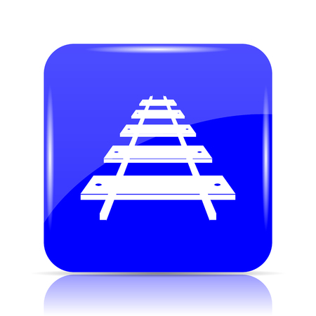 Rail road icon, blue website button on white background.