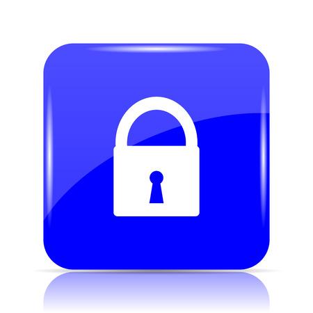 Lock icon, blue website button on white background.
