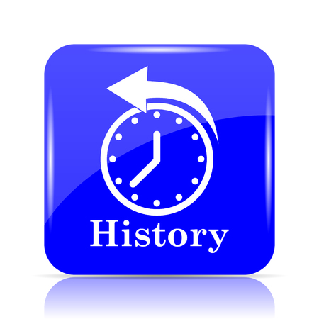 History icon, blue website button on white background.