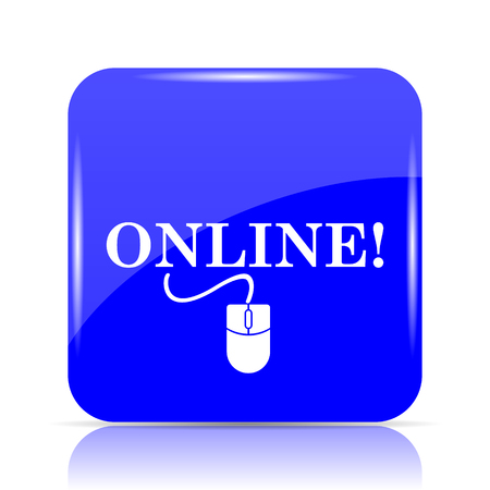 Online with mouse icon, blue website button on white background. Stock Photo