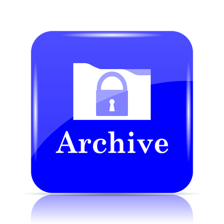 Archive icon, blue website button on white background.
