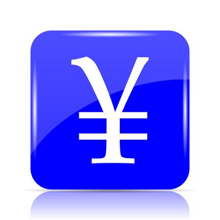 Yen icon, blue website button on white background. Stock Photo