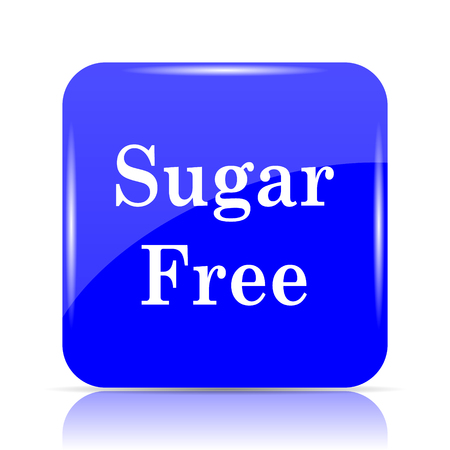 Sugar free icon, blue website button on white background.