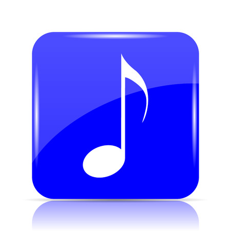 volume control: Musical note icon, blue website button on white background. Stock Photo