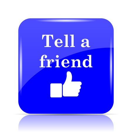 Tell a friend icon, blue website button on white background.