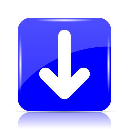 Down arrow icon, blue website button on white background.