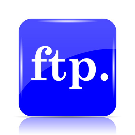 ftp. icon, blue website button on white background.