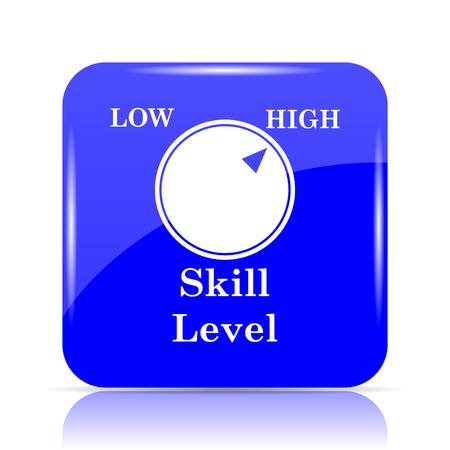 Skill level icon, blue website button on white background. Stock Photo
