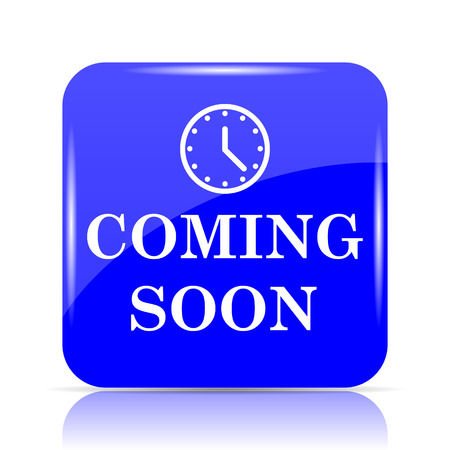 Coming soon icon, blue website button on white background. Stock Photo