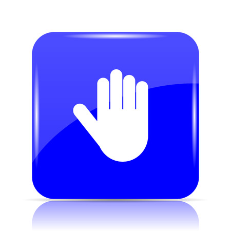 Stop icon, blue website button on white background.
