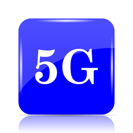 5G icon, blue website button on white background. Stock Photo
