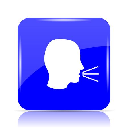 Talking icon, blue website button on white background.