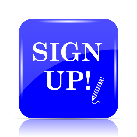 Sign up icon, blue website button on white background.
