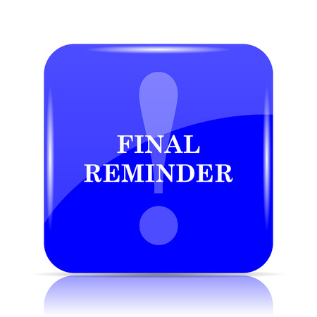 Final reminder icon, blue website button on white background.