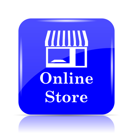 Online store icon, blue website button on white background.