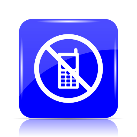 use regulations: Mobile phone restricted icon, blue website button on white background.