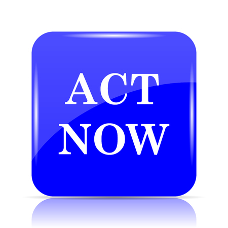 Act now icon, blue website button on white background. Stock Photo