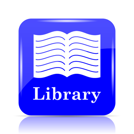 open magazine: Library icon, blue website button on white background.