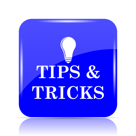 Tips and tricks icon, blue website button on white background.