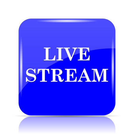 news cast: Live stream icon, blue website button on white background. Stock Photo