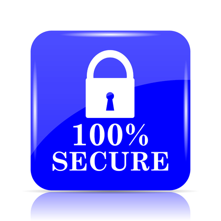 100 percent secure icon, blue website button on white background.