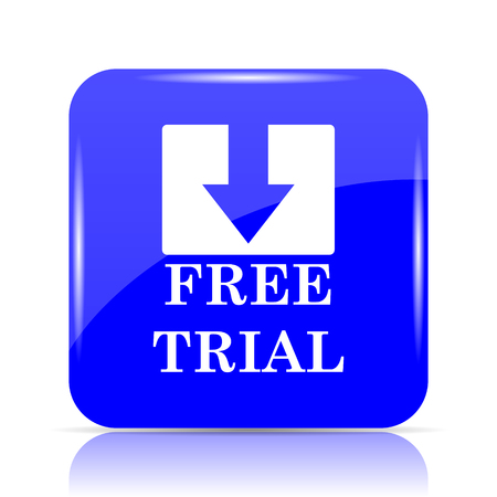 Free trial icon, blue website button on white background. Stock Photo