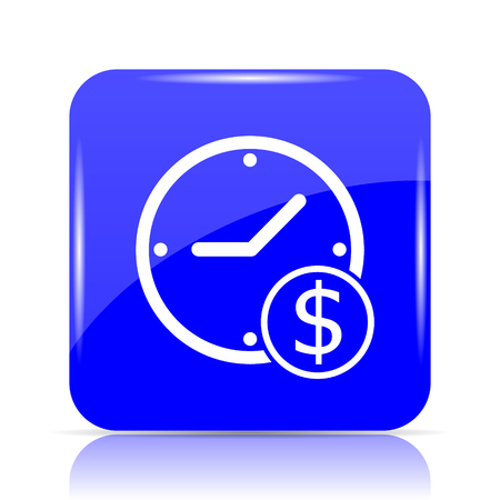 Time is money icon, blue website button on white background. Stock Photo
