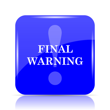 Final warning icon, blue website button on white background.
