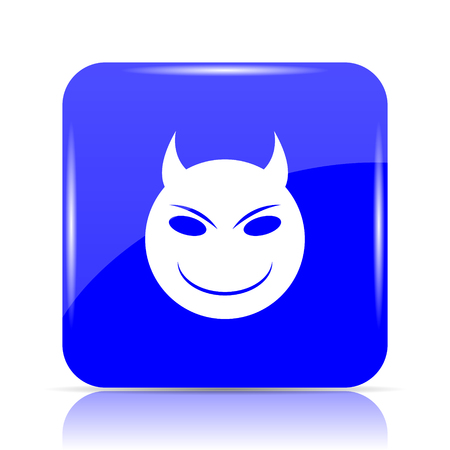 Evil icon, blue website button on white background.