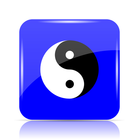 Ying yang icon, blue website button on white background.